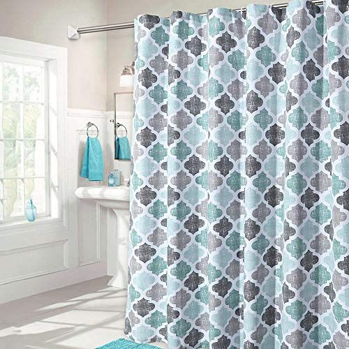 Haperlare Fabric Shower Curtain Aqua Polyester Cotton Blend
