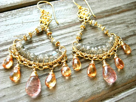 Penny Lane Wire Wrapped Gemstone Chandelier Earrings by AstridLily.