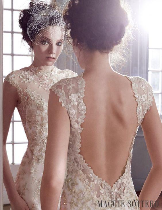 Friday Favorite: Gold Lace Sheath Wedding Dress