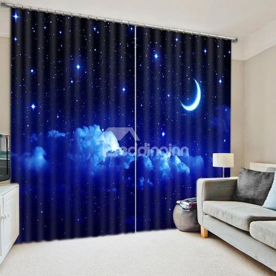 Beautiful Night Sky with Moon and Stars Printing 3D Curtain ...
