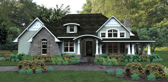Front exterior of House Plan 4838 features a beautiful craftsman wraparound porch. http://www.thehousedesigners.com/plan/pleasant-cove-4838/