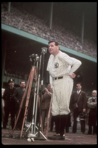 Babe addressing the crowd at Yankee Stadium on June 13th 1948 as his number 3 is retired. Ravaged by cancer, he would die two months later.: Babe Ruth, History Sport, Sports Photos, Color Photo, Ny Yankees, Yankee Stadium, Legends Baberuth, Sports Legends