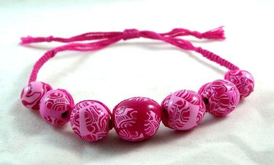 Hippy Boho Chic Raspberry Pink Beaded Micro Macrame Friendship Bracelet by HeartMesaGifts