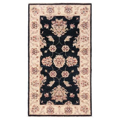 Herat Oriental Vegetable Dye Hand-Knotted Black / Ivory Area Rug