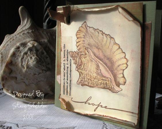 Seashell Sympathy card colored with prisma pencils