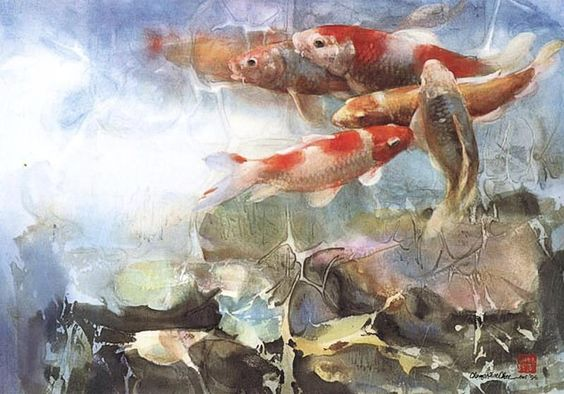 Watercolor By Cheng Khee Chee 美籍华裔水彩画家 ปลาทอง