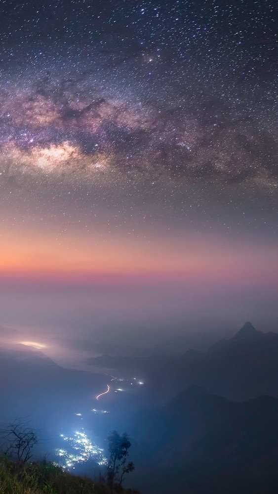 Starry Night Long Exposure Milky Way Galaxy Wallpaper Tree Wallpaper Android Clouds Wallpaper Iphone Galaxy Wallpaper