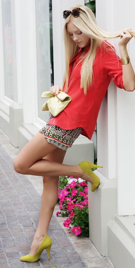 ikat shorts / chartreuse heels from shoemint