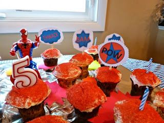 Mom's Cup Of Ambition: Make Your Own Superhero Cupcake Toppers  -- A big hit for my son's 5th birthday party.