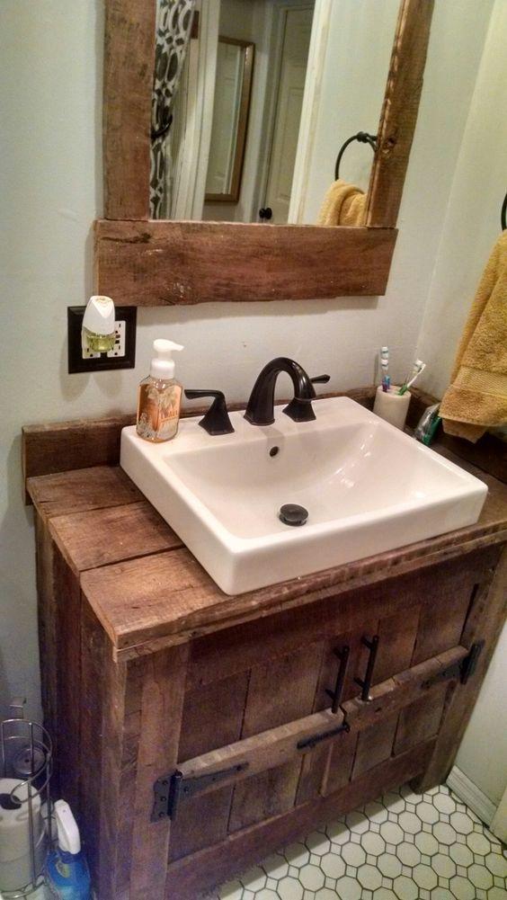 Recycled Wood Pallet Vanity Ideas Barn Bathroom Rustic Bathroom