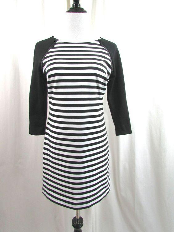 Michael Kors Black White Striped Zippered Shoulder Mini  Dress Size 6 Excellent…