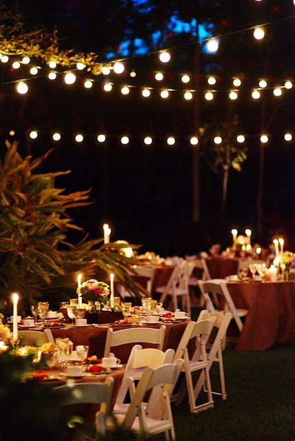 Wedding String Lights Diy : Real Weddings: Candice & Mike s DIY Wedding in Florida String lights, Wedding and Backyards