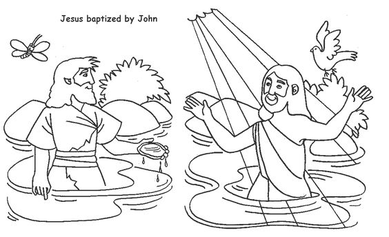 jesus baptism coloring page - jesus baptized by john coloring page kids 39 ministry