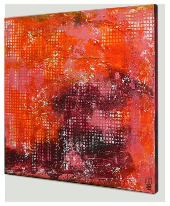 Original abstraktes Gemälde Quadrat Orange & rot von RonaldHunter