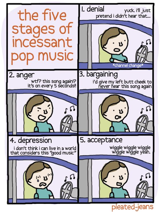 5 Stages of Pop Music- Hahahahaha perfect.