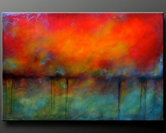 Oxidized Metal 2 - 36 x 24 - Acrylic Abstract Painting - HIghly ...