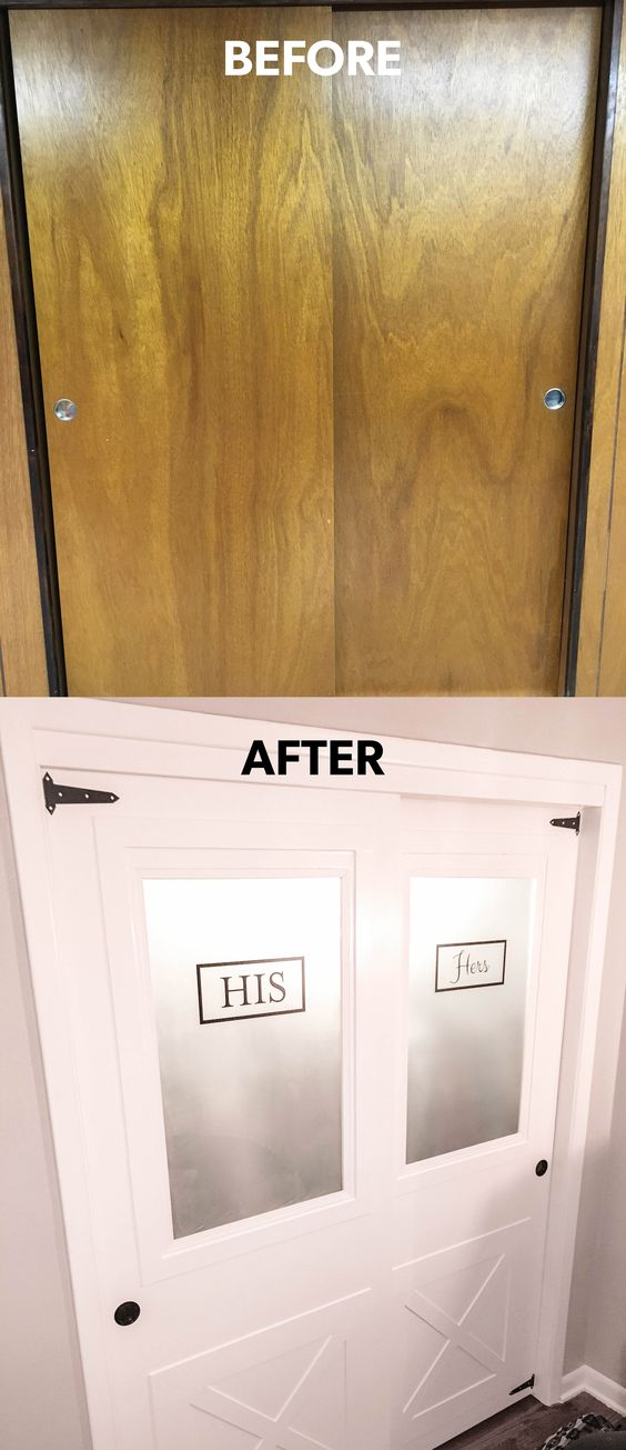Hollow core door makeover with frosted glass. Sliding closet farmhouse doors with gate hinges and his & hers signage never looked so good!