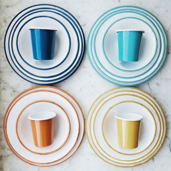 Our durable sets from Istanbul sister design duo Öykü Thurston and Başak Onay and their studio @BornnEnamelware will sit pretty on your table or pack up easily on the move. Sorted! #Enamelware #Design