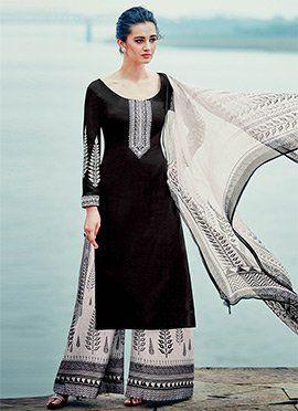 Black Cotton Satin Palazzo Suit