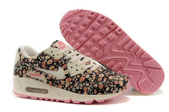 buy popular 2a89d 62a38 nike 6 o chaussures mi - Nike Air Max 90 Floral Noir Femme Rose  Cr ...