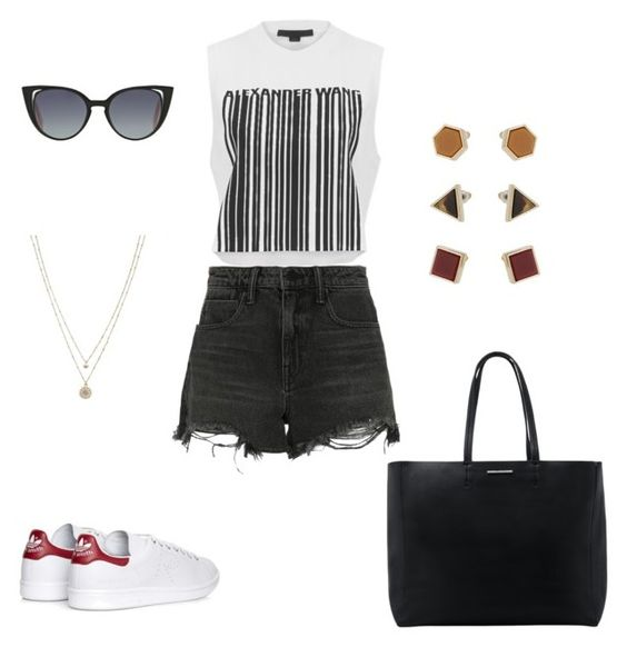 """""""Untitled #584"""" by wali-emna on Polyvore featuring Alexander Wang, adidas, MANGO, Fendi, LC Lauren Conrad and Topshop"""