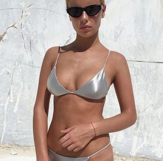 // pinterest @esib123 //  #swimsuit #beach #swimwear  Silver bikini