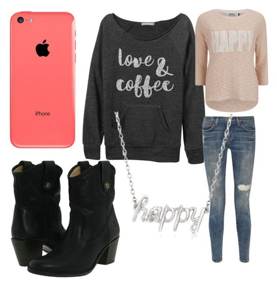 """""""Happy Days"""" by lovemusicanddesign123 ❤ liked on Polyvore featuring ONLY, Current/Elliott, Ross-Simons and Frye"""