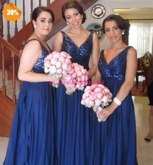 Wholesale V-Neck Sequins Chiffon Long Bridesmaid Dresses Party Dress Red/Pink/Coral/Red/Royal Blue/Lavender/Purple/Orange/Hunter Bridesmaid Dresses, Free shipping, $66.47/Piece | DHgate Mobile