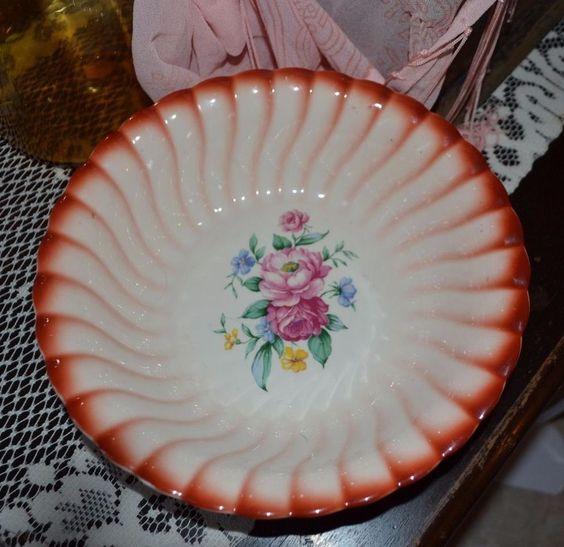 Vintage Homer Laughlin Serving Bowl, Peony Rose, L56N8, Made in USA #HomerLaughlin