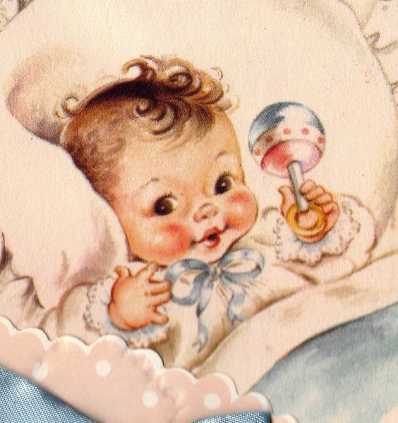 Vintage 1950s Welcome Baby Congratulations Greetings Card