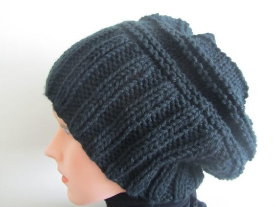 Hand Knit Hat   Slouchy Black Hat by Madebyfate on Etsy, $30.00
