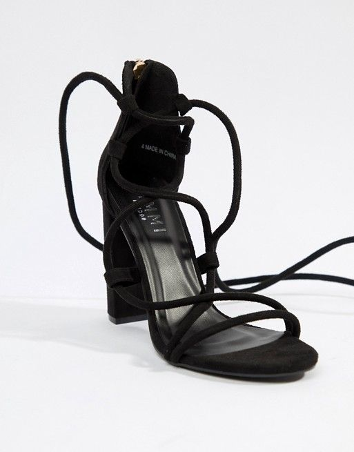 Simmi Shoes Simmi London Heidi Black Lace Up Block Heeled Sandals Minimalist Shoes Street Style Fall Outfits Lace Up Block Heel