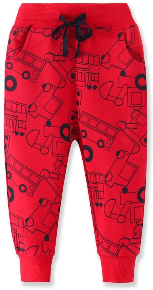 Toddler Boys Jogger Pants Boy Cotton Drawstring Elastic Waist Sweatpants Joggers 2 Pack Set 2-7T