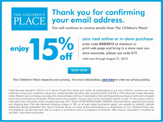 The Childrens Place: 15% off Printable Coupon