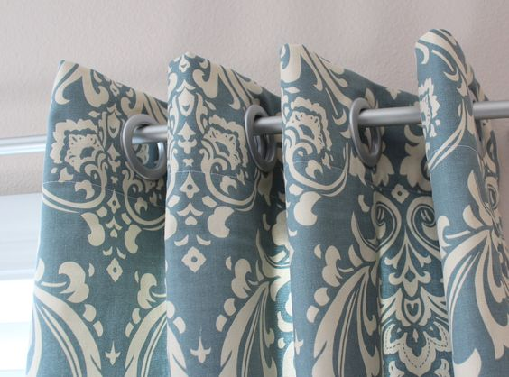 Pair of Designer Custom Curtain Panels 50 x 96 Blue Cream Damask ...