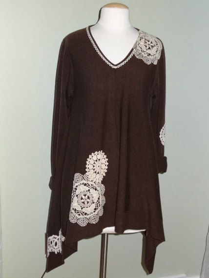Eco Upcycled Chocolate Brown V Neck Knit Sweater Tunic by ArtZenia, $58.99
