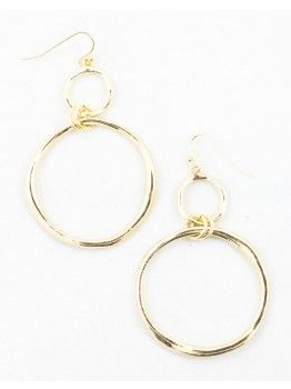 Two Tier Circle Drop Earring - Shiny Gold