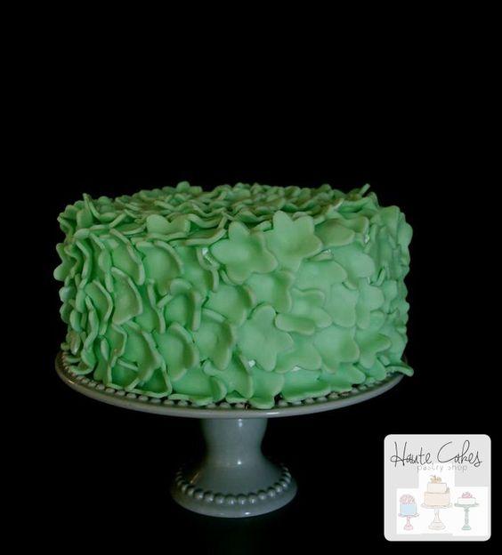 Northern Virginia Birthday Cake Green Flowers   Haute Cakes Pastry Shop
