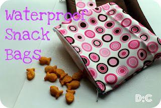 Waterproof snack bags using PUL (waterproof material used to make cloth diaper covers.
