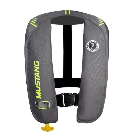 Mustang MIT 100 Inflatable Manual PFD - Gray-Flourescent Yellow-Green