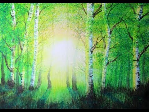 Aquarellschule Sonnenaufgang Im Fruhlingswald Youtube
