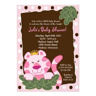 queen of the jungle pink tiger baby girl shower invitation wording idea join us for a wild. Black Bedroom Furniture Sets. Home Design Ideas