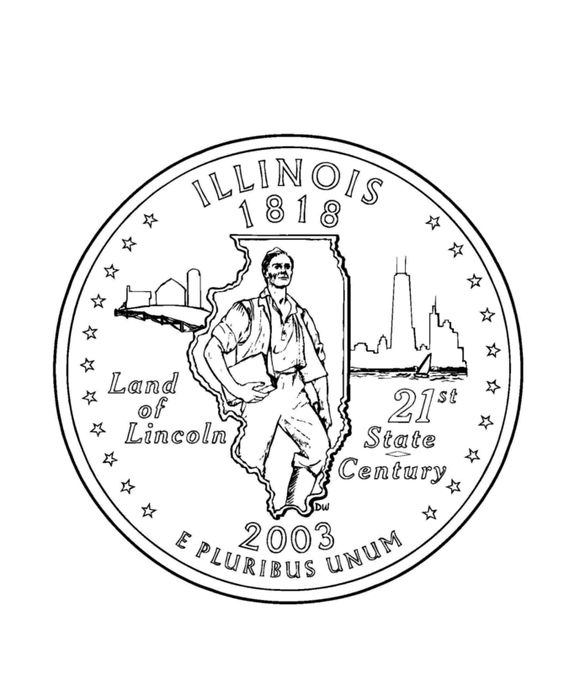 Coloring Pages Quarter : Illinois state quarter coloring page link to lots of