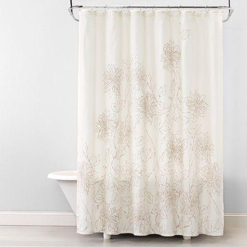 Linework Floral Shower Curtain Silver Mink Opalhouse Target