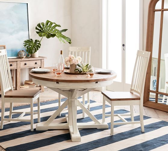 Hart Round Reclaimed Wood Pedestal Extending Dining Table Driftwood White In 2020 Dining Table Round Pedestal Dining Table Oval Table Dining