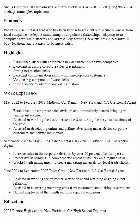 Enterprise Rent A Car Resume New 1 Car Rental Agent Resume Templates Try Them Now Sample Resume Medical Assistant Resume Resume
