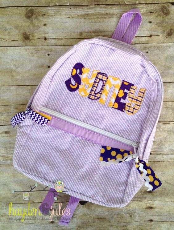 Applique Name Purple and Gold LSU Seersucker Backpack