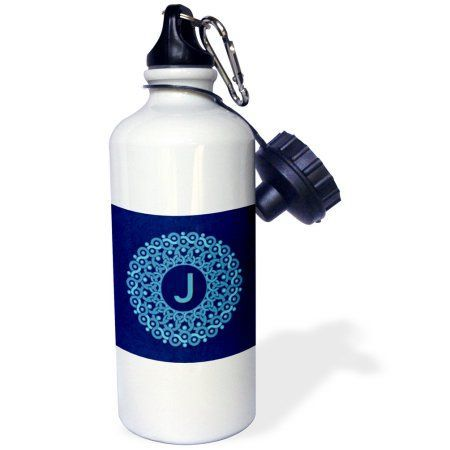 3dRose Monogram J blue hued mandala on royal blue muted grunge damask, Sports Water Bottle, 21oz, White