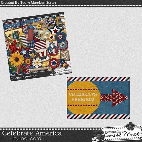 Scrapbooking TammyTags -- TT - Designer - Connie Prince, TT - Item - Journal Space, TT - Style - Journal Card,  TT - Theme - Patriotic or July 4th