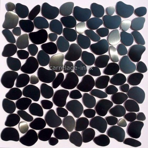galet de sol douche et mur de salle de bain en inox galet noir - Galet Noir Salle De Bain